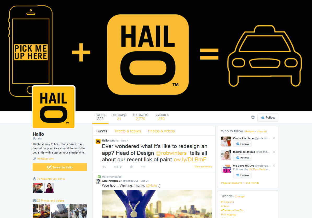 Hailo Twitter page