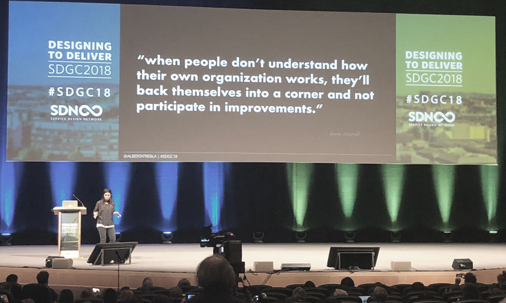 Alberta Soranzo from Lloyds Banking Group was the voice of every Service Designer in the conference room on the last day: why is change and service implementation just so difficult? — Because of the people and the existing organisational culture!