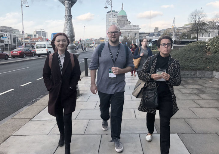 Senior Researcher Tom Knoll, Senior Service Designer Hannah Steele, and Senior Service Designer Caroline Butler on their way to the first day of talks and workshops; notebooks ready and pencils sharpened!