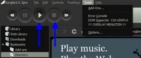 Picture showing an audio player interface withe Play and Stop button highlighted.