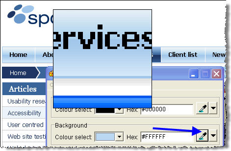 Screenshot of Colour Contrast Analyser, selecting background colour with eyedropper tool