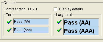 Screenshot of Colour Contrast Analyser, showing the results being a pass for colour contrast