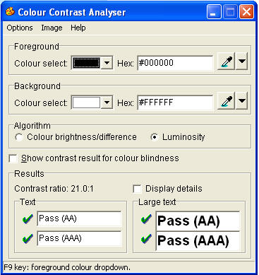 Screenshot of Colour Contrast Analyser, Version 2.2 by the Paciello Group