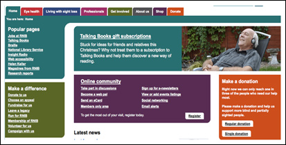 Screenshot of RNIB site