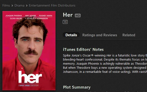 iTunes - 'Her' film page