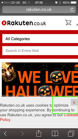 Ratuken homepage showing cookie message
