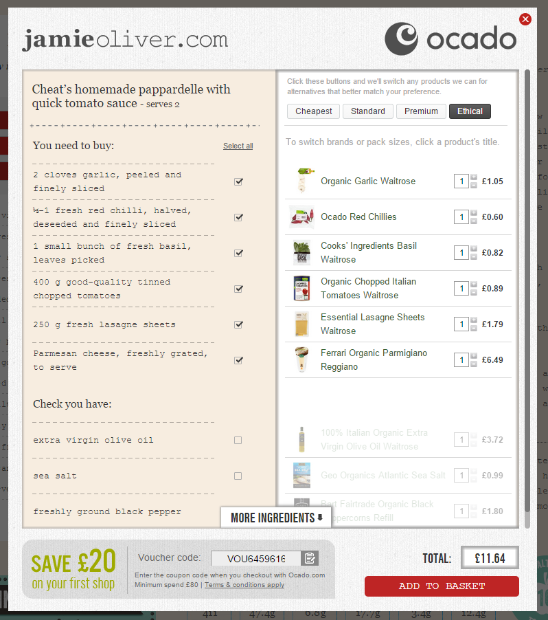 Jamie Oliver and Ocado